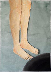 """Zeichnung / Scherenschnitt, Beine vor einem Loch. Aus der Serie """"some rules are bound to be broken"""" (c) Iris Christine Aue"""