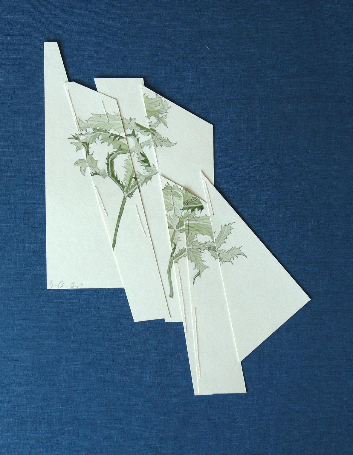 """""""vernarbte Zeichnung III"""" Bleistift und Aquarell auf Papier, abgebildet auf blauem Hintergrund 41 x 30,5 cm, 2015"""