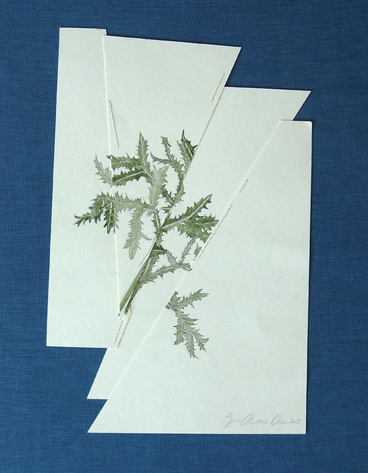 """""""vernarbte Zeichnung II"""" Bleistift und Aquarell auf Papier, abgebildet auf blauem Hintergrund 35,5 x 23,5 cm, 2015"""