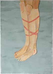 """Zeichnung / Scherenschnitt, Beine gefesselt. Aus der Serie """"some rules are bound to be broken"""" (c) Iris Christine Aue"""