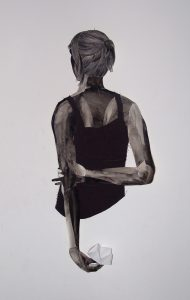 mit Dir (Himmel & Hölle), Farbstift und Aquarell, Garn auf Papier, 90 x 40 x 9 cm, 2014 (c) Iris Christine Aue