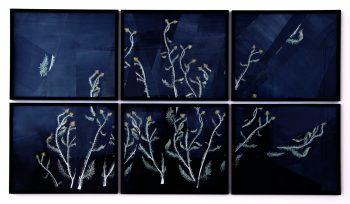 großformatige Zeichnung mit Pflanzenmotiv Distel