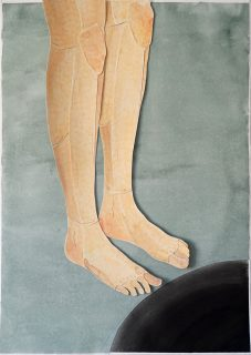Zeichnung / Scherenschnitt, Beine vor einem Loch. Aus der Serie